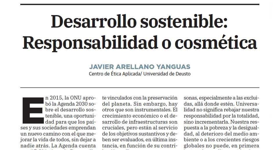 Desarrollo sostenible: Responsabilidad o cosmética