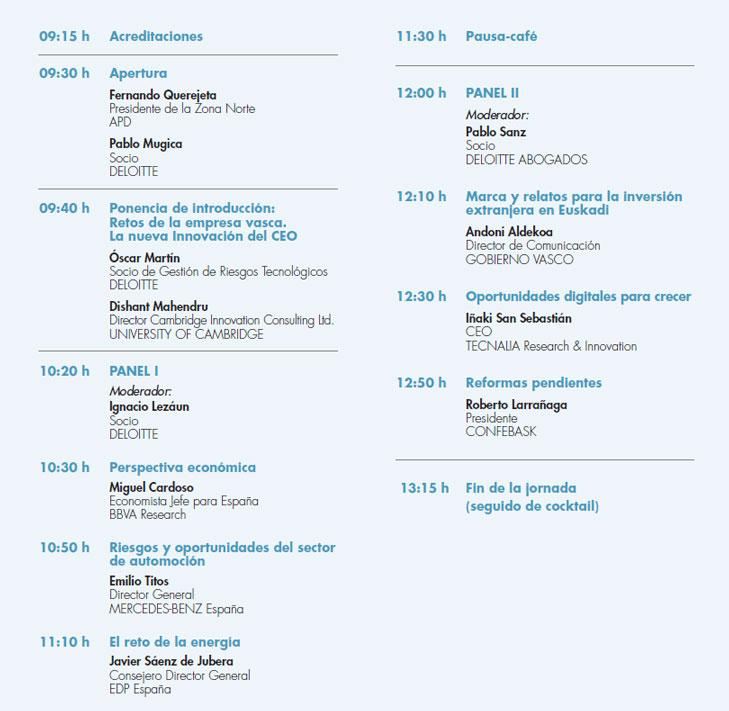 Programa Jornada APD Deloitte sobre Nuevos Tiempos