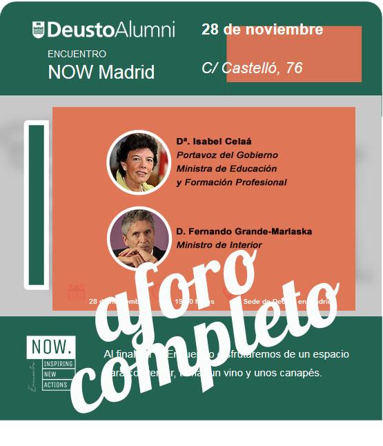 Deusto Alumni Now Madrid aforo completo