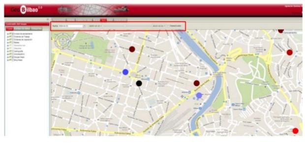 Mapas para la visualización de datos de la ciudad de Bilbao (Fuente: http://www.slideshare.net/deusto/smart-bilbao-los-datos-al-servicio-de-la-ciudad-big-data-open-data-etc)
