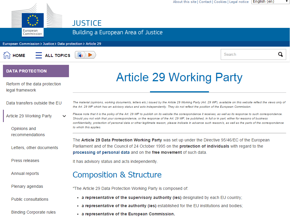 Grupo de Trabajo del Artículo 29 (Fuente: http://ec.europa.eu/justice/data-protection/article-29/index_en.htm)