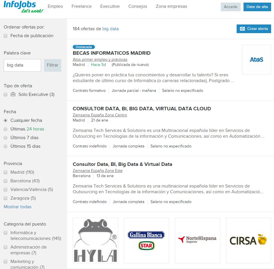 Búsqueda rápida en Infojobs por puestos de trabajo en Big Data