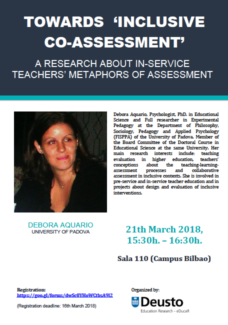 Seminar: TOWARDS 'INCLUSIVE CO-ASSESSMENT': A RESEARCH ABOUT IN-SERVICE TEACHERS' METAPHORS OF ASSESSMENT