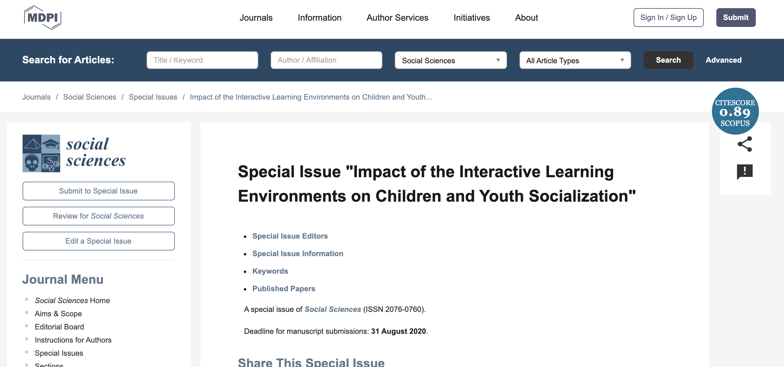 "Special issue ""Impact of the Interactive Learning Environments on Children and Youth Socialization"""