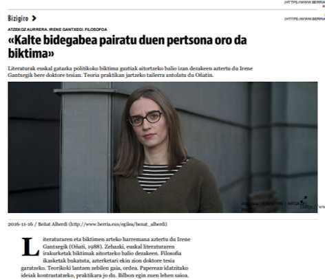 Taller literario sobre víctimas de la violencia en el País Vasco
