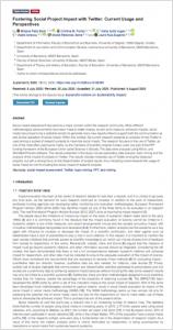 Divulgación de proyectos de investigación en Twitter: uso y perspectivas
